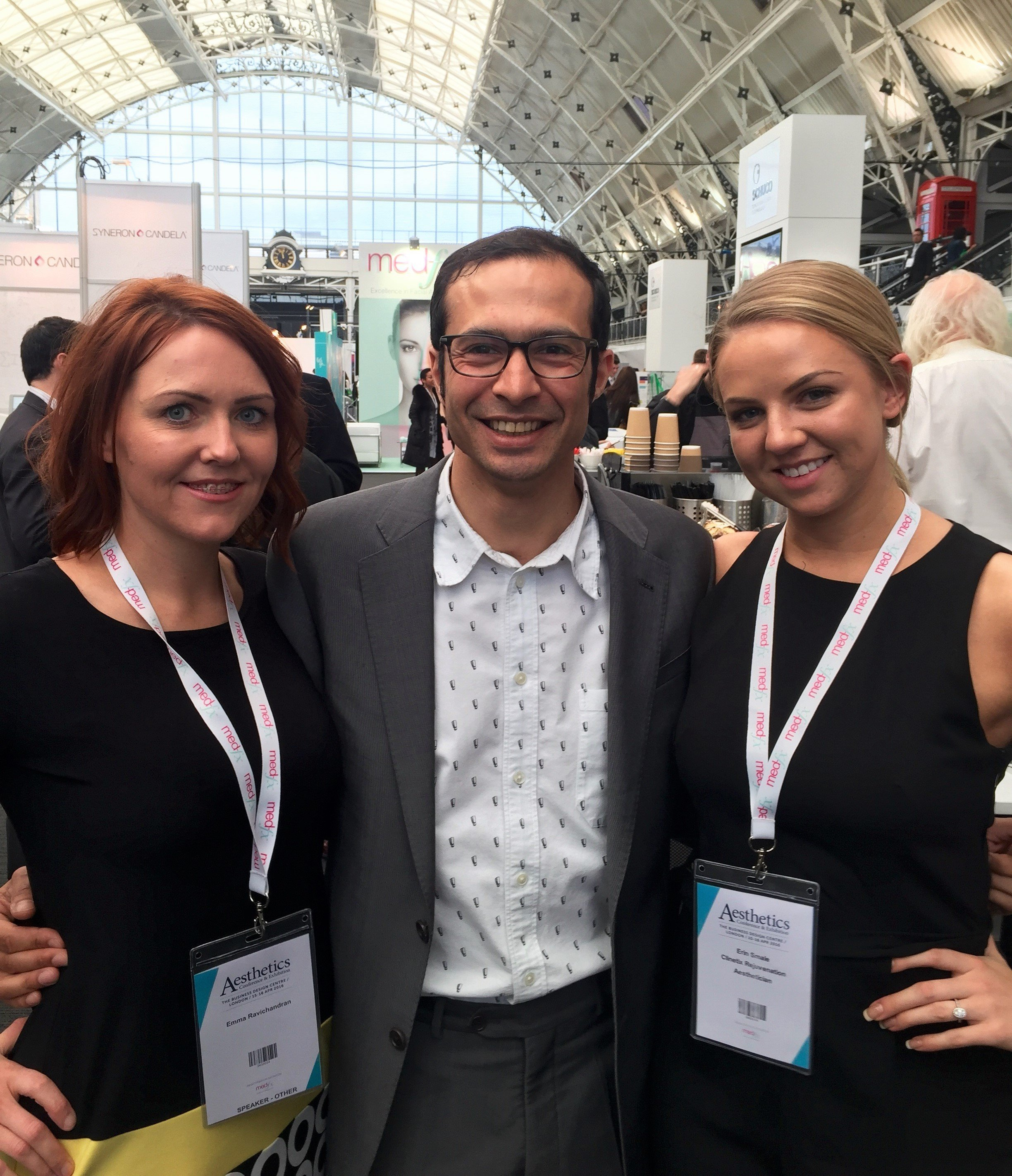 Clinetix Directors Drs Emma and Simon Ravichandran and Clinetix Glasgow West End Therapist Erin at ACE 2016 - Aesthetic Conference and Exhibition 2016