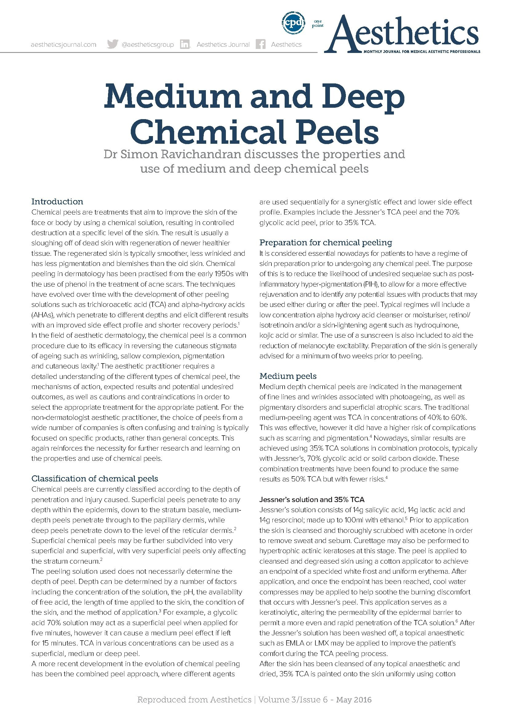 Clinetix Director Dr Simon Ravichandran in Aesthetic Journal discussing the properties of Medium and Deep Chemical Peels