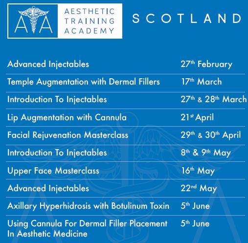 Aesthetic Training Academy Upcoming Courses - Glasgow, Scotland