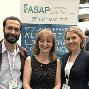 Drs Emma and Simon Ravichandran with Veronica Donnelly from Campbell Dallas at ACE 2017 in London - Clinetix Rejuvenation